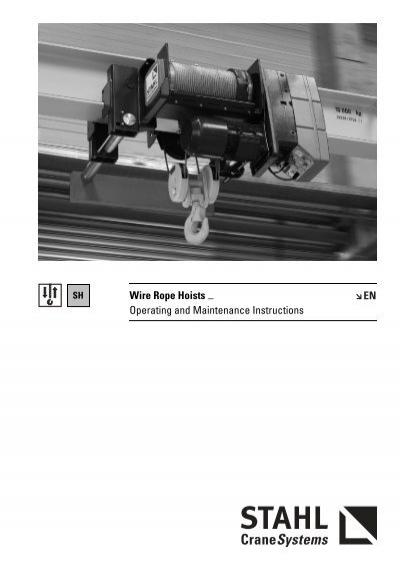 wire rope hoists operating and maintenance stahl polska rh yumpu com Cynch Wire Hoist Sling Types Small Hoist Manual