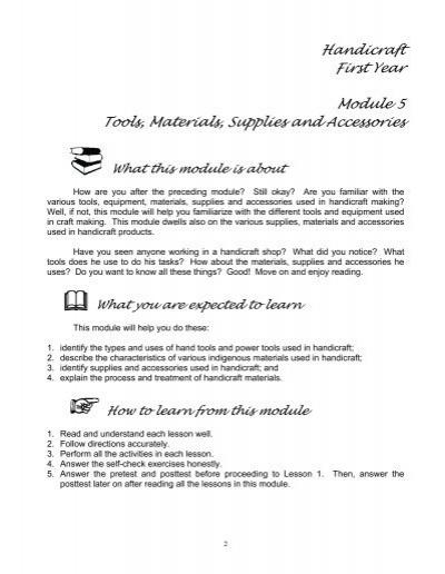 Tech Livelihood Ed Industrial Arts Module 5 E Turo