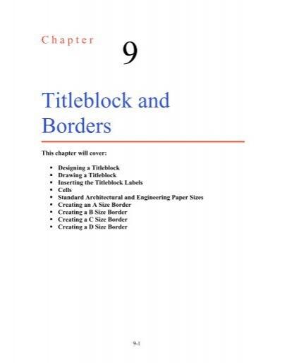 Ch 9 Making A Titleblock And A B C D Borders World