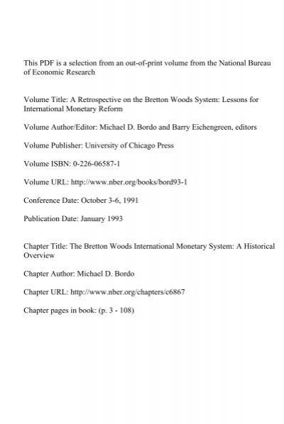 The Bretton Woods International Monetary System National Bureau