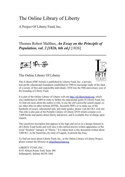 Online Library Of Liberty An Essay On The Principle Of Population  Online Library Of Liberty An Essay On The Principle Of Population