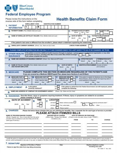 Health Benefits Claim Form - Blue Cross and Blue Shield Federal ...