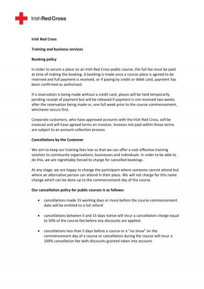 First Aid Training Courses Policy Irish Red Cross