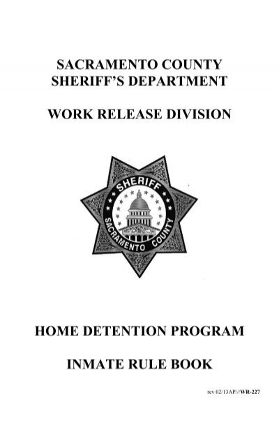 Sacramento County Home Detention Handbook