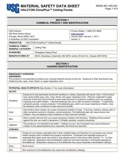 HALCYON ClimaPlus Ceiling Panels MSDS - USG Corporation
