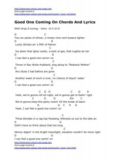 Good One Coming On Chords And Lyrics - Kirbys Covers For Country