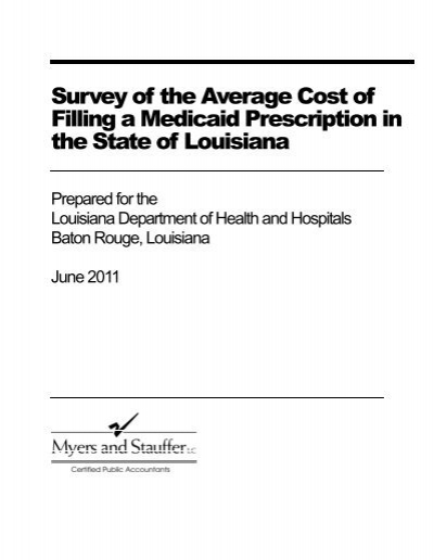 Survey Of The Average Cost Filling A Medicaid Prescription In