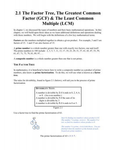 2.1 The Factor Tree, The Greatest Common Factor (GCF) & The
