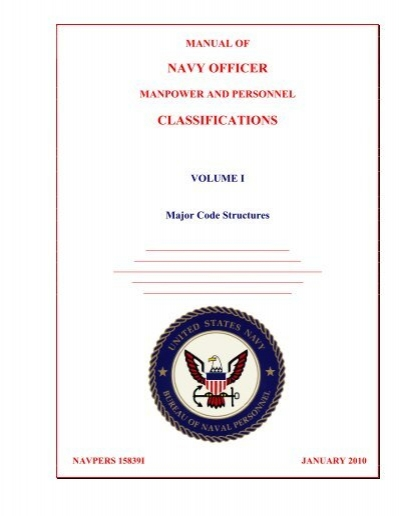 Navy Officer Manpower And Personnel Classifications Us Navy