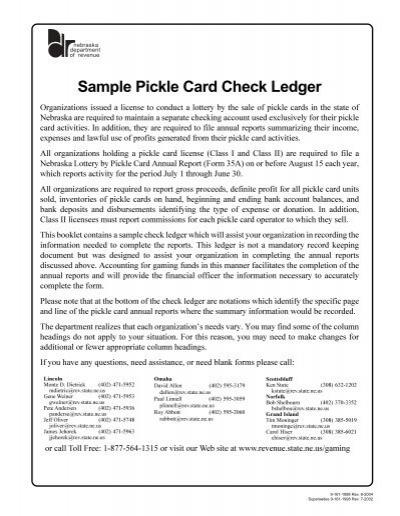 sample pickle card check ledger nebraska department of