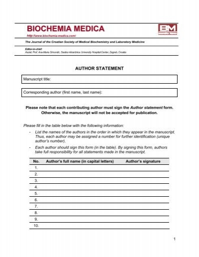 Author statement form - Biochemia Medica
