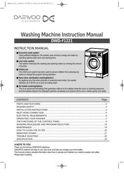 Washing Machine Instruction Manual Dwd F1221 Castel Daewoo
