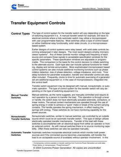 t011 transfer switch application manual rh yumpu com cummins power generation application manual 2017 Cummins Manual