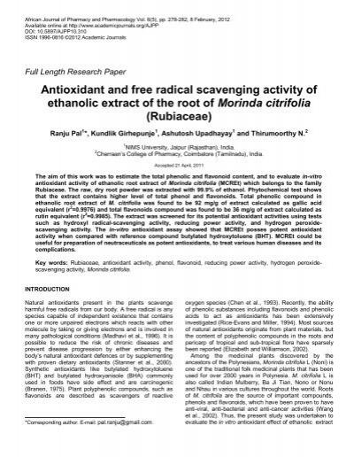 Antioxidant and free radical scavenging activity of