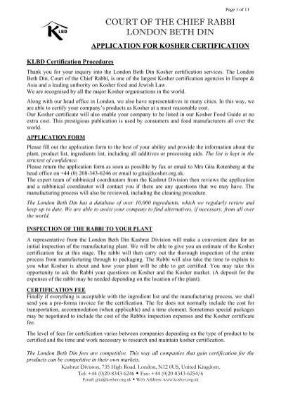 Klbd Certification Procedures London Beth Din Kashrut Division