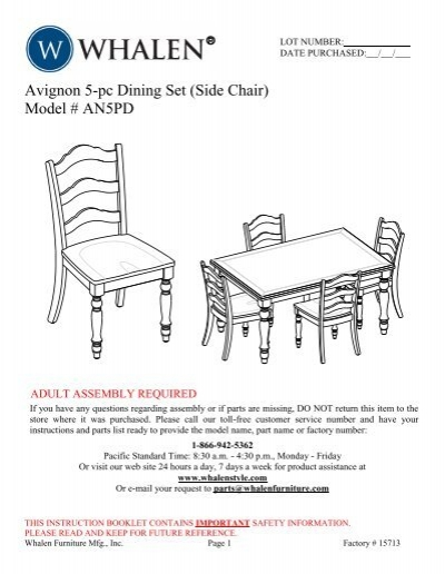 Avignon 5 Pc Dining Set Side Chair Model An5pd Whalen Style