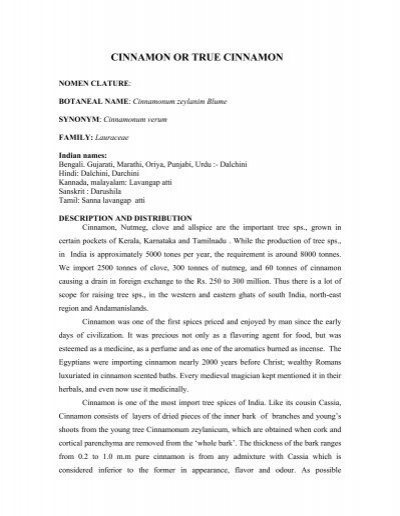 CINNAMON OR TRUE CINNAMON - Intercom Exports