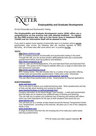Psychometric Test Website Guide - University of Exeter
