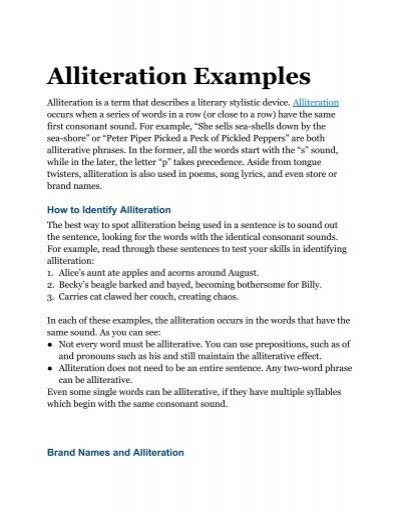 Alliteration examples for Alliteration poem template