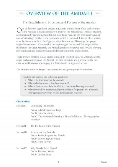 Overview of the Amidah I pdf - Morasha Syllabus