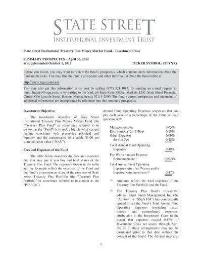 State Street Institutional Treasury Plus Money Market Fund