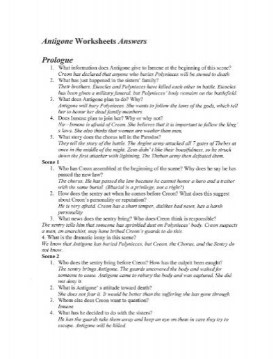 Antigone Worksheets Answers Prologue