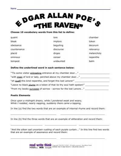 Edgar Allan Poe S The Raven Worksheet Answers Read Write ...