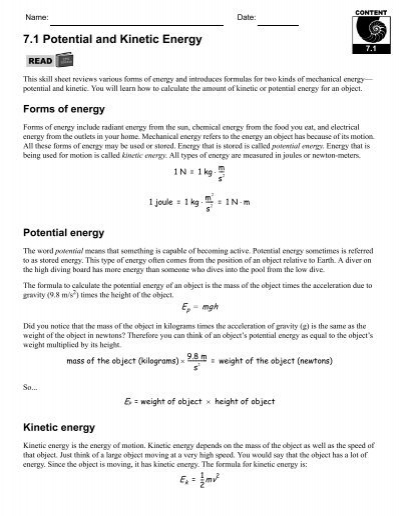Potential And Kinetic Energy Worksheets. Worksheets. Releaseboard ...