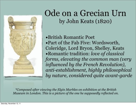 ode on a grecian urn research paper The difference in the ode on grecian urn and  sailing to byzantium are very distinctive es, research paper essay/term paper: ode to a grecian urn essay.