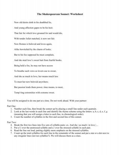 Printables Sonnet Worksheet the shakespearean sonnet worksheet