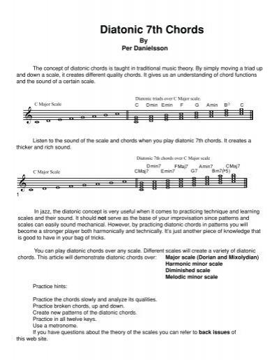 Diatonic 7th Chords Wenatcheemusic