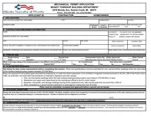 Mechanical Permit Application Mundy Township