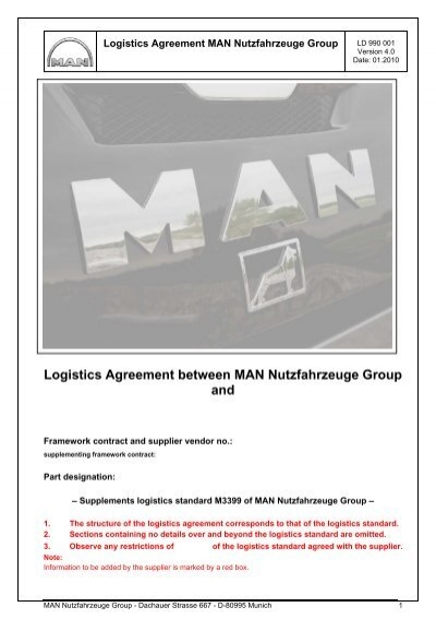 Template For Logistics Agreement Man