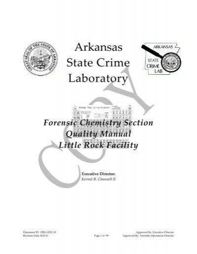 Forensic Chemistry Quality Manual Arkansas State Crime Laboratory