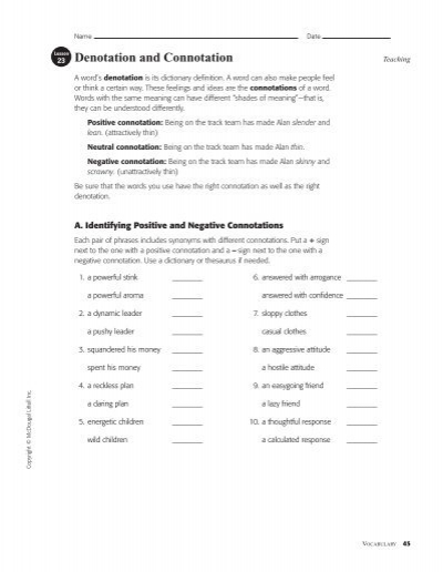 Printables Connotation And Denotation Worksheets denotation and connotation worksheet lesson 17 intrepidpath worksheets