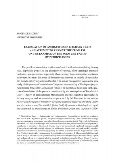 Magdalena Zyga Uniwersytet Szczeciński Translation Of