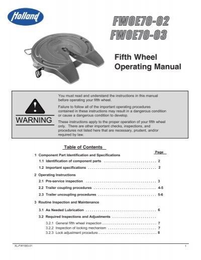 Fifth Wheel Operating Manual Saf Holland Gmbh