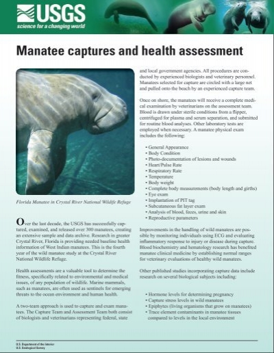 Manatee Captures and Health Assessment Handout - USGS