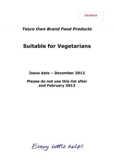 Suitable For Vegetarians Tesco Real Food