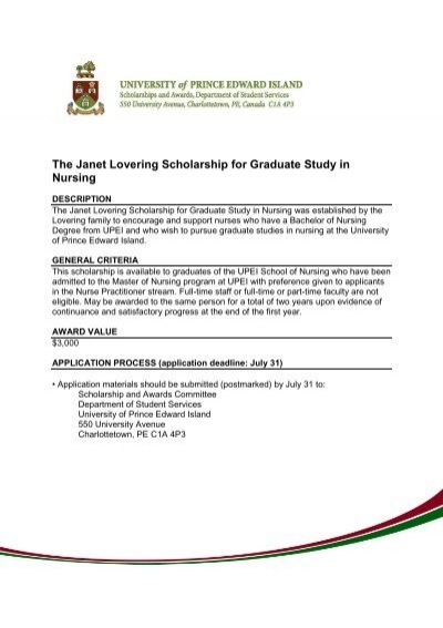 The Janet Lovering Scholarship for Graduate Study in Nursing