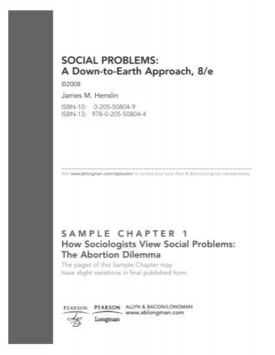 Social Problems A Down To Earth Approach 8e