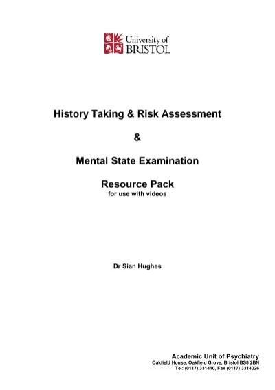 History Taking Risk Assessment Mental State Bristol Ac Uk
