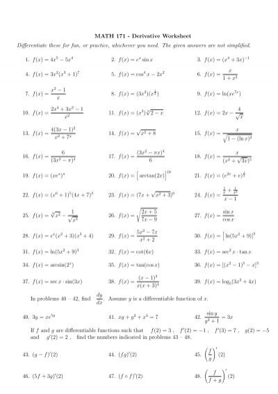 Math 171 Derivative Worksheet Differentiate These For