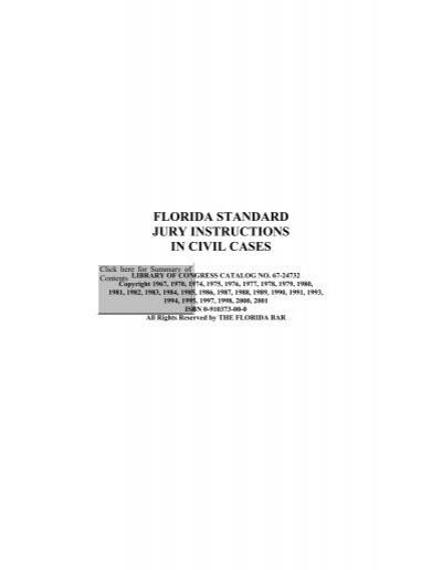 Florida Standard Jury Instructions In Civil Cases Eighteenth