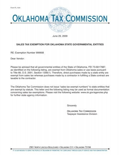 Sales Tax Exemption Letter for Oklahoma State Gov't Entities