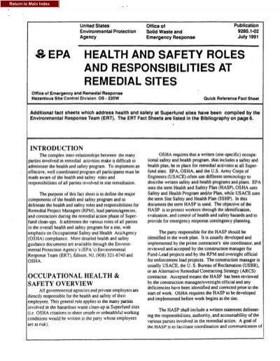 Health And Safety Roles And Responsibilities At Remedial Sites