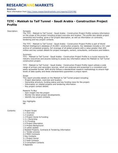 Titc Makkah To Taif Tunnel Saudi Arabia Construction Project