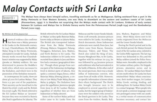Malay Contacts With Sri Lanka Iias