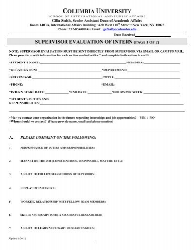 Supervisor Evaluation Form U2013 U9040 Research Internship