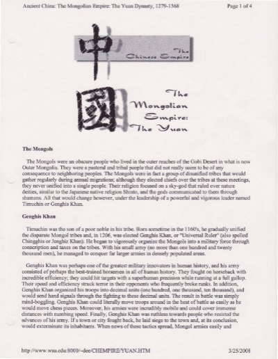 mongols dbq essay Essays - largest database of quality sample essays and research papers on mongols dbq.